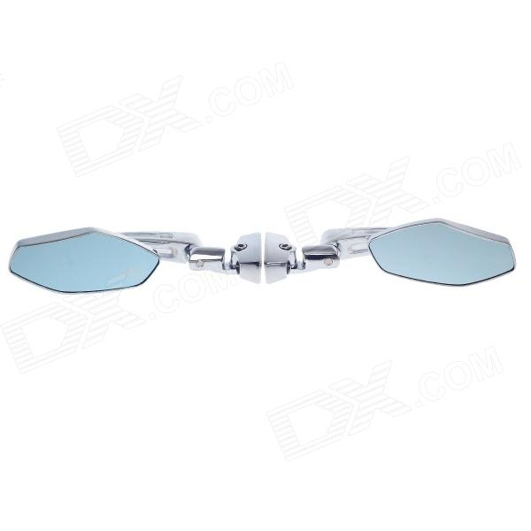 QC-M-062 1/4 Rhombus Style Motorcycle Anti-Glare Back Rearview Mirror - Silver + Light Blue (Pair)