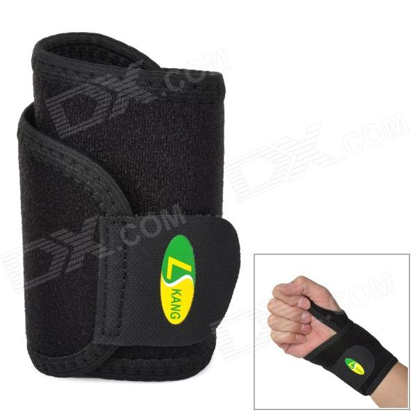 LK 4003 Sport Protective Neoprene + Nylon Wrist Support Guard - Black sports elastic wrist support and protective wrap pair