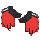 QEPAE F035 Cycling Anti-slip Cotton + Mesh Fabric Half-finger Gloves - Red + Black (Pair / XL)