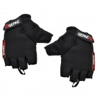 QEPAE F035 Cycling Anti-slip Cotton + Mesh Fabric Half-finger Gloves - Black (Pair / M)