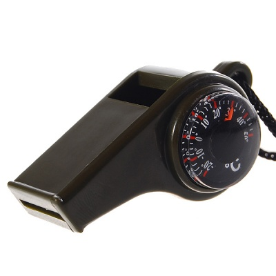 3-in-1 Survival Whistle with Compass and Thermometer - Black