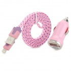 Car Cigarette Powered Charger + USB 8-Pin Lightning Nylon Cable for iPhone 5 - Pink + Purple