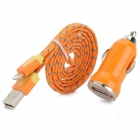 Car Cigarette Powered Charger + USB 8-Pin Lightning Nylon Cable for iPhone 5 - Orange + Blue