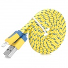 USB-zu-8-Pin Blitz Data / Laden Woven Nylon-Kabel für iPhone 5 / iPad Mini / 4 - Gelb