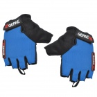 QEPAE F035 Cycling Anti-slip Cotton + Mesh Fabric Half-finger Gloves - Blue + Black (Pair / M)