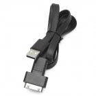 USB 2.0 to 30-Pin / Micro USB Data/Charging Flat Cable for iPhone 4 / 4S / Cell Phone - Black