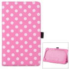 Polka Dot Style Protective PU Leather Case for Google Nexus 7 II - Pink + White