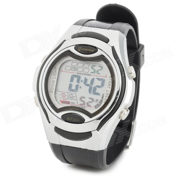 Digital Quartz Wrist Watch - Black + Silver (1 x CR2025)