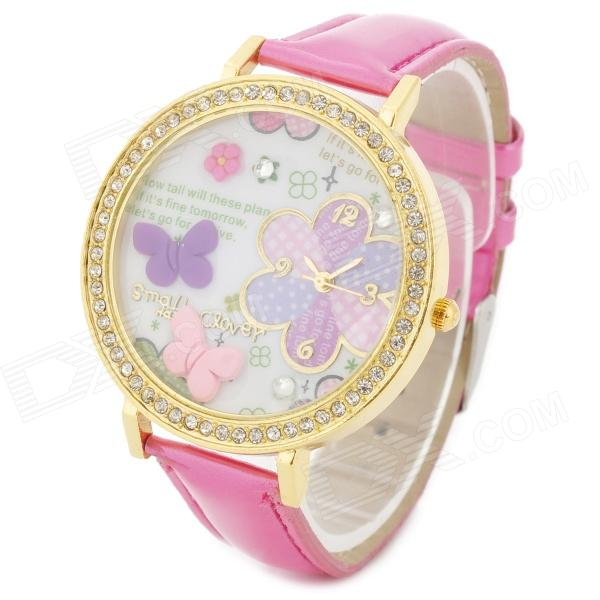Butterfly Style Crystal Round Dial PU Leather Band Quartz Wrist Watch for Women - Deep Pink + Golden