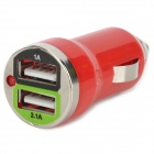Car Cigarette Powered Charging Adapter Charger w/ Double USB Output - Red