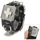 Punk Cross Pattern Bracelet Style Quartz Wrist Watch for Men - Black + Silver