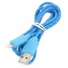 USB Male to Micro 8-Pin Lightning Knit Charging Data Cable for iPhone 5 - Blue