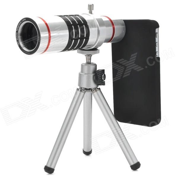 18X Zoom Aluminum Alloy Lens + Back Case + TrIpod Set for Iphone 4 / 4S - Silver + Red + Black detachable 14x camera zoom optical telescope telephoto lens set for iphone 4 4s silver black