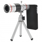 18X Zoom Aluminum Alloy Lens + Back Case + TrIpod Set for Iphone 4 / 4S - Silver + Red + Black