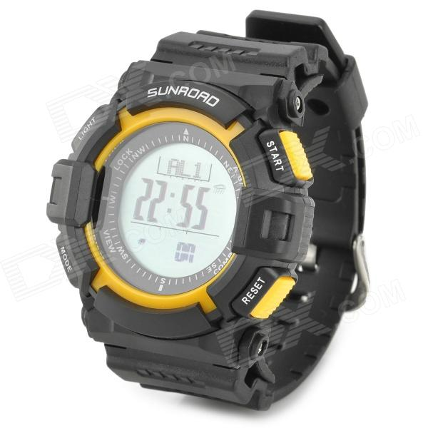 SUNROAD FR820A Stylish Sporty Water Resistant Digital Wrist Watch - Black + Yellow (1 x CR2032) north edge men sports watch altimeter barometer compass thermometer weather forecast watches digital running climbing wristwatch