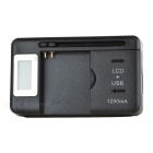 "0.7"" LCD USB 2-Flat-Pin Plug AC Power Universal Battery Charging Dock - Black"
