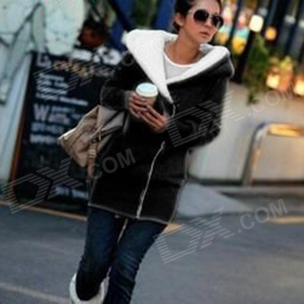 881 Casual Inclined Zipper Long Warm Coat for Women - Black