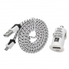 Car Charger Adapter + Micro USB Charging Data Cable Set for Samsung / HTC - White + Black
