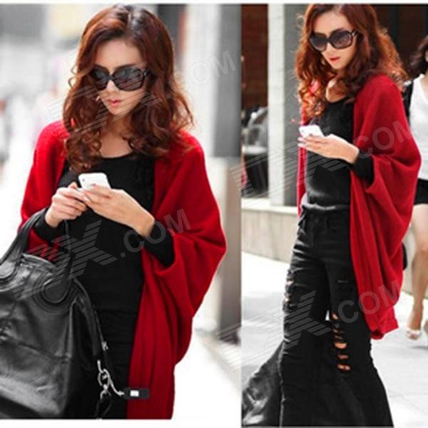 YY001 Fashion Women's Long Sleeves Knitwear Shawl - Red