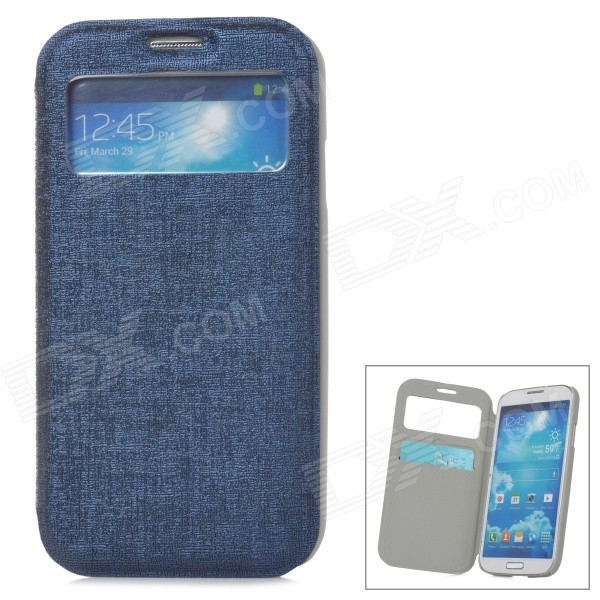 Stylish Flip-Open PU Leather Case w/ Card Slot for Samsung Galaxy S4 - Blue наушники затычки panasonic rp hje118gug зеленый