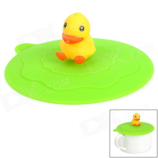 Cute Duck Style Silicone Cup Cover Lid - Green