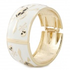 Fashion Skull Style Zinc Alloy Wide Bracelet - White + Golden