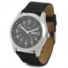 EYKI 8479 Men's Sport Style Linen Band Quartz Wrist Watch w/ Calendar - Black + Silver (1 x 377)