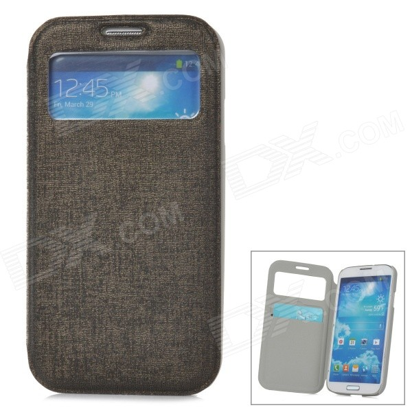 70020 Flip-Open PU Leather Case w/ Card Slot for Samsung Galaxy S4 - Dark Grey protective flip open pu case w stand card slots for samsung galaxy s4 active i9295 black