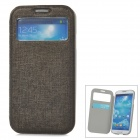 70020 Flip-Open PU Leather Case w/ Card Slot for Samsung Galaxy S4 - Dark Grey