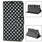 Polka Dot Style Protective PU Leather Case for Samsung i9295 - Black + White