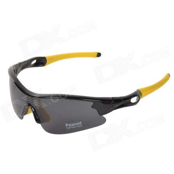 CARSHIRO 9137 Cycling Polarized UV400 Protection PC Frame Resin Lens Sunglasses - Black + Yellow carshiro 9150 uv400 protection resin lens polarized night vision driving glasses