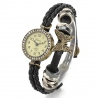 ELY 009 Fashion Bracelet Style Round Shape Dial PU Leather Band Wrist Watch - Black (1 x 626)