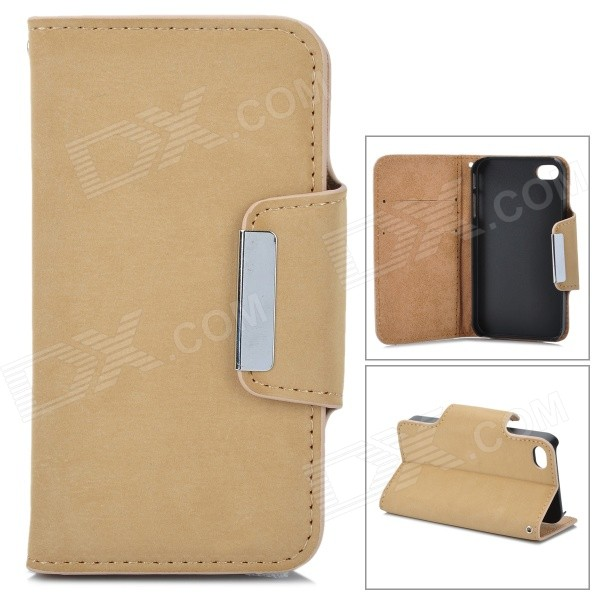 Protective PU Leather Case for Iphone 4 / 4S - Beige protective pu leather pouch bag for iphone 5 4 4s coffee