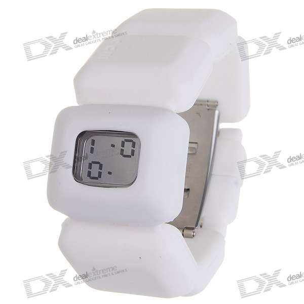 Odm Silicone Band LED Fashion Bracelet Watch with Date Display (White)
