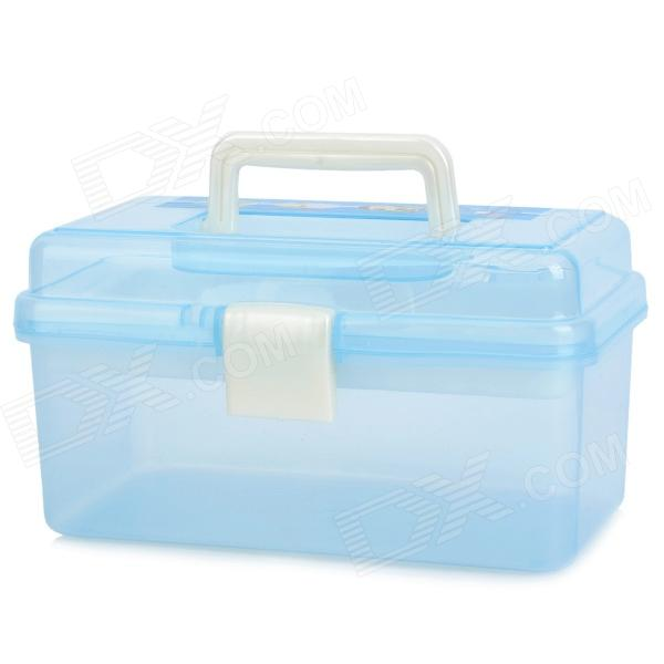 2-Layer Plastic Painting Box - Translucent Blue
