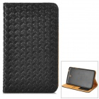 Protective Woven Style PU Leather Case w/ Card Slot for Samsung P3200 - Black + Brown