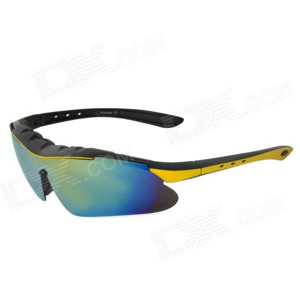 CARSHIRO T9124-3 Cycling Polarized UV400 Protection PC Frame Resin Lens Sunglasses - Black + Yellow carshiro 510 men s clip on resin lens uv400 protection polarized sunglasses grey
