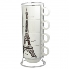 Eiffel Tower Pattern Ceramic Cup w/ Iron Stand Holder (4 PCS / 200ml)