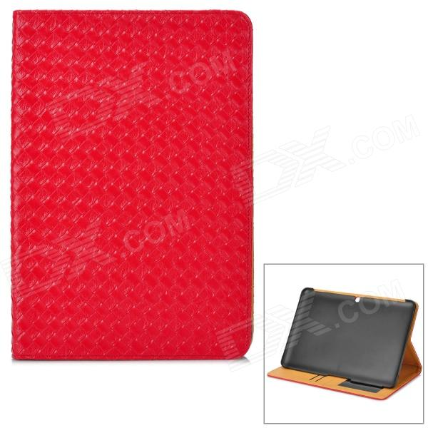 Protective Woven Style PU Leather Case w/ Card Slot for Samsung P5100 - Red