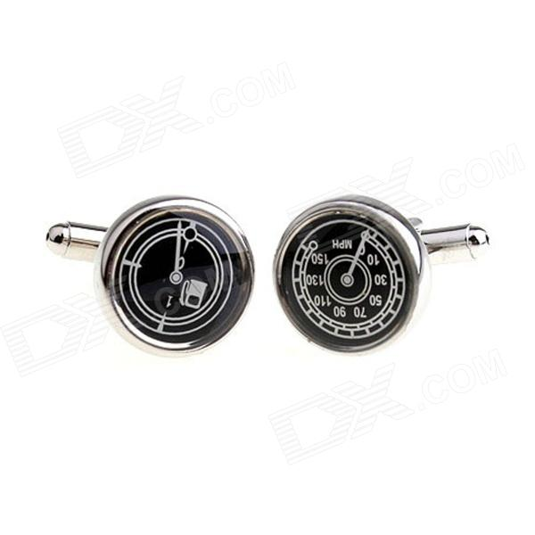 Round Speedometer & Tank Table Plating Enamel Cufflinks - Silver + Black (Pair)