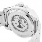 Wilon Men's Stylish Skeleton Dial Analog Mechanical Wrist Watch - Silver + Black