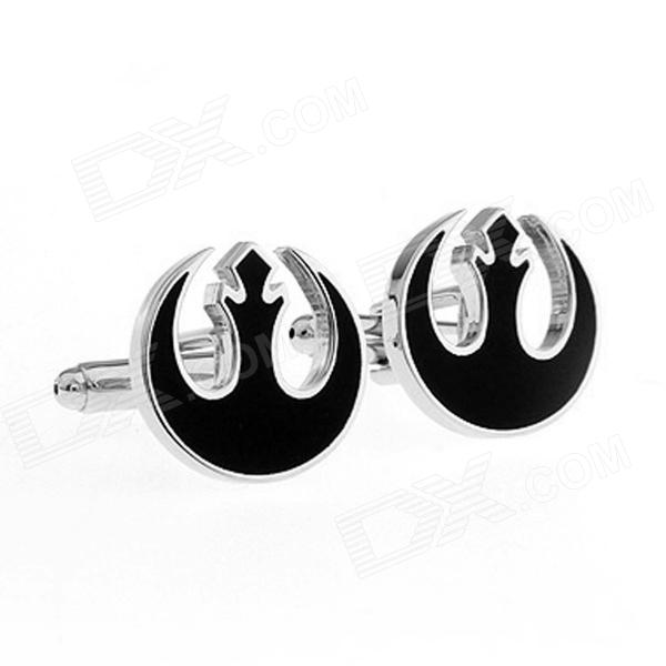 Alliance Starbird Plating Enamel Cufflinks - Silver + Black (Pairs)