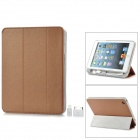 External 8000mAh Power Battery Charger w/ PU Leather Case / Auto Sleep for iPad Mini - Brown