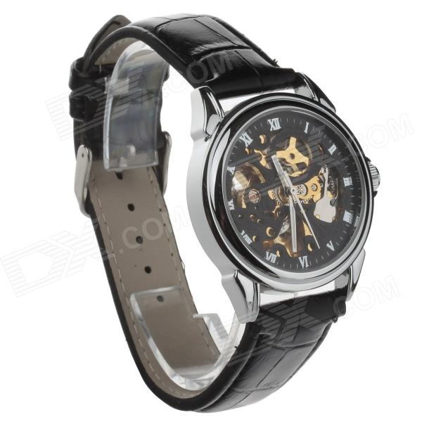 Hollow out Style Automatic Mechanical Men's Analog Wrist Watch - Black + Golden