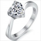 DJ918 Platinum Plating Love Style Women's Rhinestone Ring - Silver (US Size 6)