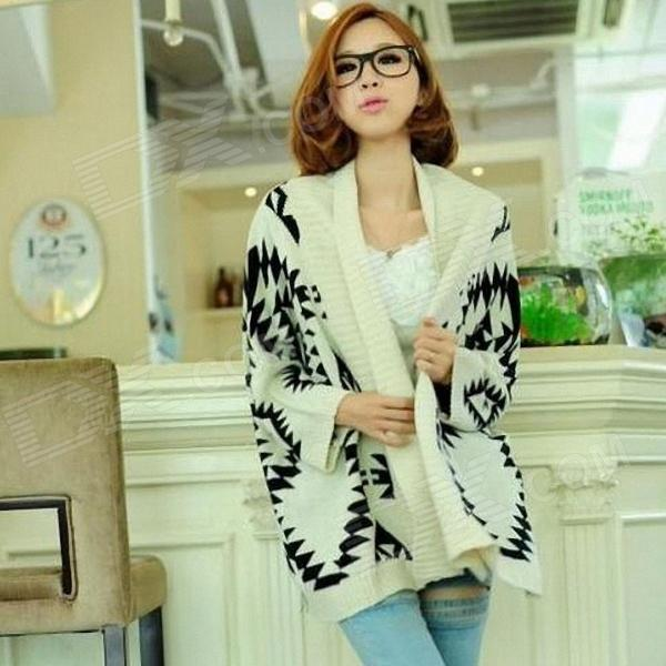 Geometric Design Loose Knitted Cardigan for Women - White + Black (Free Size)