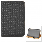 Protective Woven Style PU Leather Case w/ Card Slot for Samsung P3100 - Black