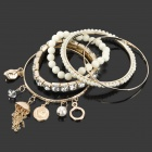 Stylish Fashionable All-match Beads / Crystal Charm Bracelet Jewelry Set - White + Golden