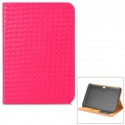 Protective Woven Style PU Leather Case w/ Card Slot for Samsung P3200 - Deep Pink