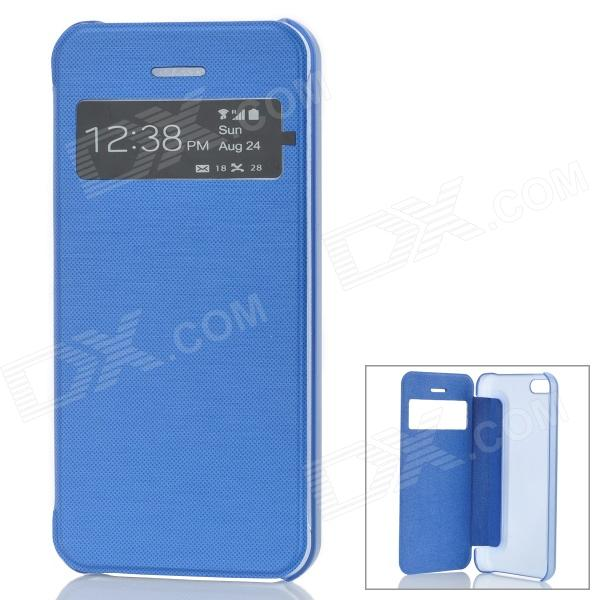 Stylish Protective Case w/ Display Window for Iphone 5C - Blue stylish protective case w display window for iphone 5c blue